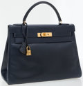 Luxury Accessories:Bags, Hermes 32cm Blue Marine Calf Box Leather Kelly Bag . ...