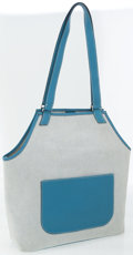 Luxury Accessories:Bags, Hermes Toile and Blue Jean Togo Leather Jardinier Shoulder Bag. ...