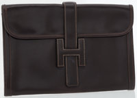 Hermes Marron Fonce Calf Box Leather Jige MM H Clutch Bag
