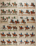 Art:Illustration Art - Mainstream, [Lithograph]. Group of Five Hand Tinted Lithographs. Nd. Most 17 x14 inches. Depicts various military regalia on horse back...