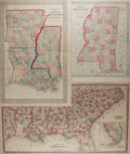 Art:Illustration Art - Mainstream, [Maps]. Group of Three. Ca. 1860's, 1870's. Largest 27.75 x 17inches. Toning. Some small tears. Light thumbsoiling, stainin...