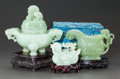 Asian:Chinese, A CARVED JADE CENSER TOGETHER WITH A CASED CARVED JADE FIGURINE OFA DUCK WITH STAND AND CARVED JADE VESSEL. 20th century. 7...(Total: 3 Items)