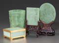 Asian:Chinese, TWO CARVED JADE PLAQUES ON STANDS, A JADE LIDDED BOX AND CUP. 20thcentury. 8-5/8 inches high (21.9 cm) (tallest). ... (Total: 4Items)