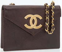 Chanel Brown Lizard Flap Bag with Gold Hardware and Oversize CC Logo