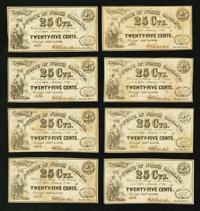 Raleigh, NC- The State of North Carolina 25¢ Jan. 1, 1863 Cr. 145 A-O Plate Letter Set