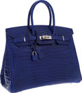 Luxury Accessories:Bags, Hermes 35cm Shiny Blue Electric Porosus Crocodile Birkin Bag withPalladium Hardware. ...