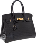 Luxury Accessories:Bags, Hermes 30cm Shiny Black Porosus Crocodile Birkin Bag with GoldHardware. ...