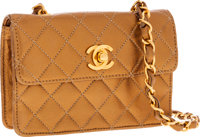 Chanel Bronze Metallic Lambskin Leather Crossbody Mini Flap Bag
