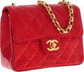Luxury Accessories:Bags, Chanel Bright Red Lizard Mini Flap Bag with Gold Chain Strap. ...