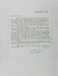 Autographs:Authors, [Letter]. Louis L'Amour. Letter to David Robeck Dated September 27,1969. Includes envelope. Crease lines from folding. Some...