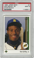 Baseball Cards:Singles (1970-Now), 1989 Upper Deck Ken Griffey, Jr. Star Rookie #1 PSA Mint 9. Important Star Rookie card marks the debut of the Upper Deck co...