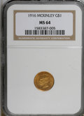 Commemorative Gold: , 1916 G$1 McKinley MS64 NGC. NGC Census: (687/781). PCGS Population(1248/1483). Mintage: 9,977. Numismedia Wsl. Price for N...