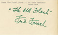 """Autographs:Index Cards, Frank Frisch """"The Old Flash"""" Signed Index Card. Hall of Fame slugger extraordinaire Frank Frisch makes note of his popular n..."""