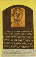 Autographs:Sports Cards, Herb Pennock Signed Hall of Fame Card. Never having lost as WorldSeries game and along the way winning five of them, Herb ...