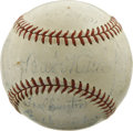 Autographs:Baseballs, 1938 Brooklyn Dodgers Team Signed Baseball with Babe Ruth. In a sad end to the Babe's career in baseball, he came to learn ...