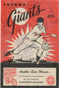 Autographs:Others, 1960 Tacoma Giants Team Signed Program. The Tacoma Giants, minorleague affiliate of the San Francisco Giants are represent...