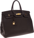 Luxury Accessories:Bags, Hermes 40cm Black Togo Leather Birkin Bag with Gold Hardware. ...