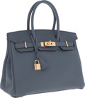 Luxury Accessories:Bags, Hermes 30cm Blue Orage Togo Leather Birkin Bag with Gold Hardware....