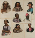 Art:Illustration Art - Mainstream, [Prints]. Group of Seven Ethnic Aquatint Prints with Hand Color.Ca., 1842. Taken from Dr. Prichard's Natural History of M...
