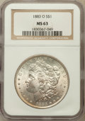 Morgan Dollars: , 1883-O $1 MS63 NGC. NGC Census: (44597/54273). PCGS Population(43342/43742). Mintage: 8,725,000. Numismedia Wsl. Price for...