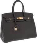 Luxury Accessories:Bags, Hermes 35cm Graphite Clemence Leather Birkin Bag with GoldHardware. ...