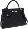 Luxury Accessories:Bags, Hermes 32cm Black Swift Leather Retourne Kelly Bag with PalladiumHardware. ...