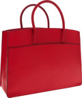 Luxury Accessories:Bags, Hermes Rouge Vif Chevre Leather White Bus Tote Bag. ...