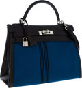 Luxury Accessories:Bags, Hermes 32cm Black Calf Box Leather & Potomas Canvas RetourneKelly Bag with Palladium Hardware. ...