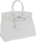 Luxury Accessories:Bags, Hermes 35cm White Clemence Leather Birkin Bag with Palladium Hardware. ...