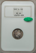 Barber Dimes, 1897-S 10C MS64 NGC. CAC....