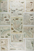 Art:Illustration Art - Mainstream, [Lithograph]. Group of Thirteen Engraved Map Reproductions. 13.75 x10 inches. Reprinted from maps ca. 1850's. Clipped from ...