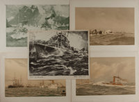 [Lithographs]. Group of Five Nautical Prints. Three are ca. 1893 via American Publishing Co. Light toning. Some creas