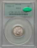 Barber Dimes, 1892-S 10C MS63 PCGS. CAC....