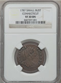 Colonials, 1787 COPPER ETLIB INDE Small Head Right Connecticut Copper VF30 NGC. M. 1.1-A, W-2700, R.3....
