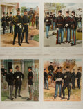 Art:Illustration Art - Mainstream, H.A. Ogden. Group of Four Military Lithographs. 16.75 x 12.75inches. Light wear to edges. Slight toning. Very good....