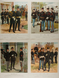 H.A. Ogden. Group of Four Military Lithographs. 16.75 x 12.75 inches. Light wear to edges. Slight toning. Very good