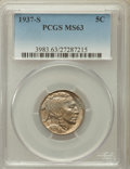 Buffalo Nickels: , 1937-S 5C MS63 PCGS. PCGS Population (92/6602). NGC Census:(60/3073). Mintage: 5,635,000. Numismedia Wsl. Price for proble...