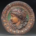 Decorative Arts, Continental, THREE POLYCHROMED PLASTER PORTRAIT ROUNDELS. 19th century. 22-1/4inches diameter (56.5 cm). PROVENANCE:. Sotheby's Olympi... (Total:3 Items)