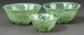 Asian:Chinese, THREE SPINACH JADE BOWLS. 20th century. 2-3/8 inches high x 5-1/4inches diameter (6.0 x 13.3 cm) (largest). ... (Total: 3 Items)