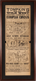 Memorabilia:Poster, Tompkin's Wild West Show Double-Sided Poster (c. 1913)....