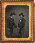 Photography:Daguerreotypes, Half-Plate Daguerreotype, circa 1848, Featuring Two Anglos Disguised as Vaqueros....