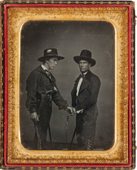 Half-Plate Daguerreotype, circa 1848, Featuring Two Anglos Disguised as Vaqueros