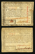 Colonial Notes:Massachusetts, Massachusetts May 5, 1780 $3 Two Examples Very Fine-ExtremelyFine.. ... (Total: 2 notes)