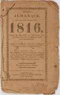 Books:Pamphlets & Tracts, [Almanac]. Andrew Beers. Beers' Almanack for the Year of Our Lord1816. New Haven: Oliver Steele. Pamphlet. String bound. Mo...