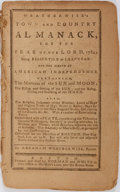 Books:Pamphlets & Tracts, [Paul Revere]. Abraham Weatherwise. Weatherwise's Town andCountry Almanack, for the Year of Our Lord 1784. Bost...