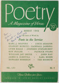Books:Periodicals, [Periodical]. SIGNED/INSCRIBED. Poetry: A Magazine of VerseAugust 1943. Chicago: Harriet Monroe. Signed and inscr...