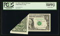 Error Notes:Foldovers, Fr. 1922-L $1 1995 Federal Reserve Note. PCGS Choice About New58PPQ.. ...