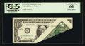 Error Notes:Foldovers, Fr. 1907-C $1 1969D Federal Reserve Note. PCGS Very Choice New 64.....