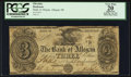 Obsoletes By State:Michigan, Allegan, MI- The Bank of Allegan $3 Dec. 30, 1837 G6 Lee ALL-1-3. ...