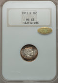Barber Dimes: , 1911-S 10C MS63 NGC. Gold CAC. NGC Census: (29/97). PCGS Population (39/139). Mintage: 3,520,000. Numismedia Wsl. Price for...